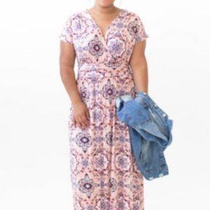 Agnes & Dora Spencer Floor-length Dress, faux-wrap